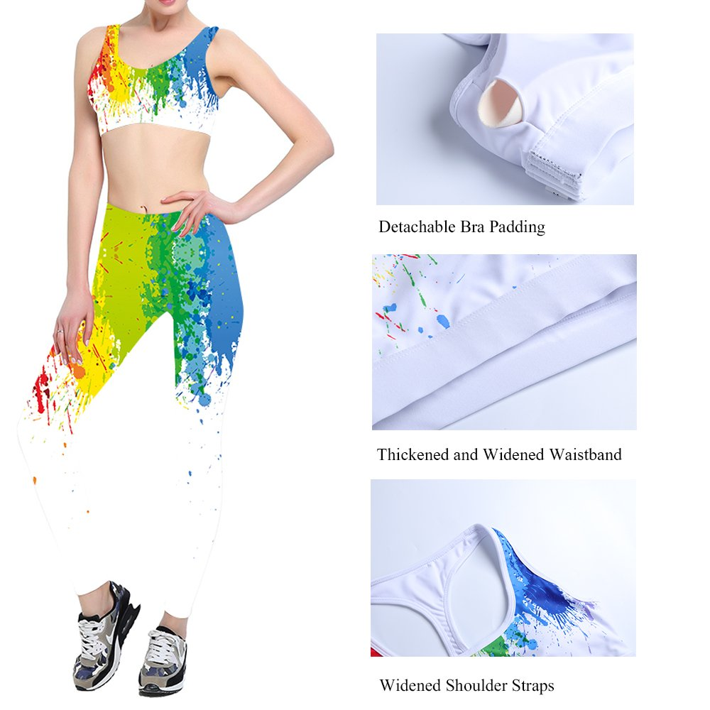 TUONROAD Printed Power Flex Yoga Pants Tummy Control Fitness Active Workout Jogging Running Gym Yoga Leggings (Tie-dyed, L)