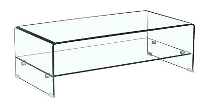 Rectangulaire Salon En Table Basse Design Moderne Verre Étagère Meubletmoi Ice Vitrée Trempé Avec H9EWID2