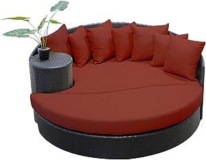 TK Classics Newport Circular Sun Bed Outdoor Wicker Patio Furniture, Terracotta