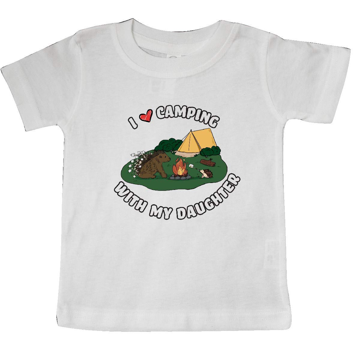 inktastic I Heart Camping with My Daughter with Hedgehog and Baby T-Shirt