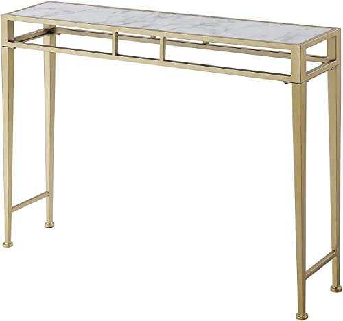 Convenience Concepts Console Table, White Faux Marble Gold Frame