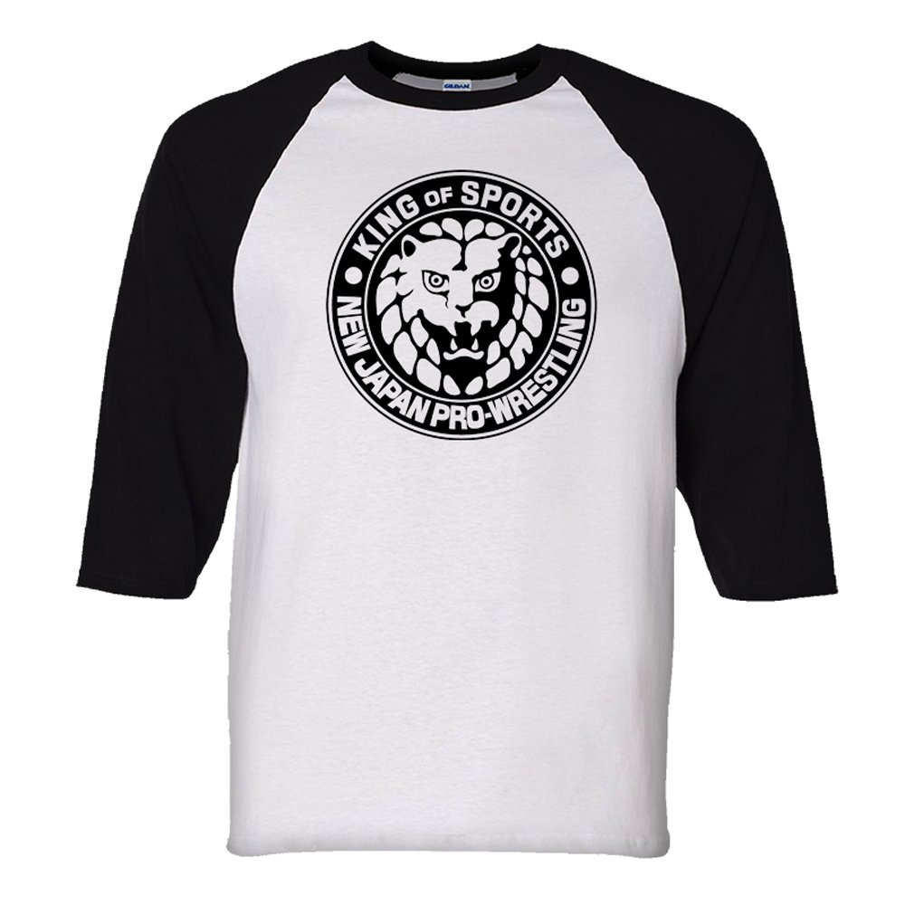 Adult New Japan Pro-Wrestling Lion Mark Logo Black Baseball Jersey Tee Black by Pro Wrestling Tees