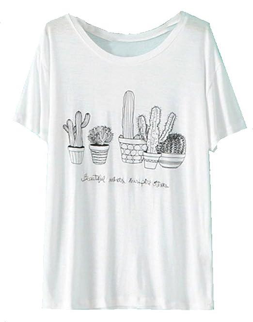 Shein Camiseta - Para Mujer Blanco Blanco Large: Amazon.es: Ropa y accesorios