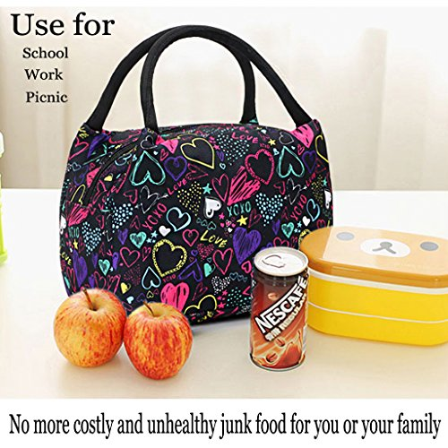 Sumnacon Insulated Lunch Bag, Reusable Portable Leakproof Lunch Box Tote Cooler Bag for Men Women Girls Kids for Work,School,Picnic(Heart Pattern) by Sumnacon (Image #6)