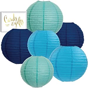 Andaz Press Diamond Blue, Turquoise, Navy Blue Hanging Paper Lanterns Decorative Kit, 6-Pack with Free Gifts Table Party Sign, Under The Sea, Ocean, Whale, Airplanes Birthday Party Decorations