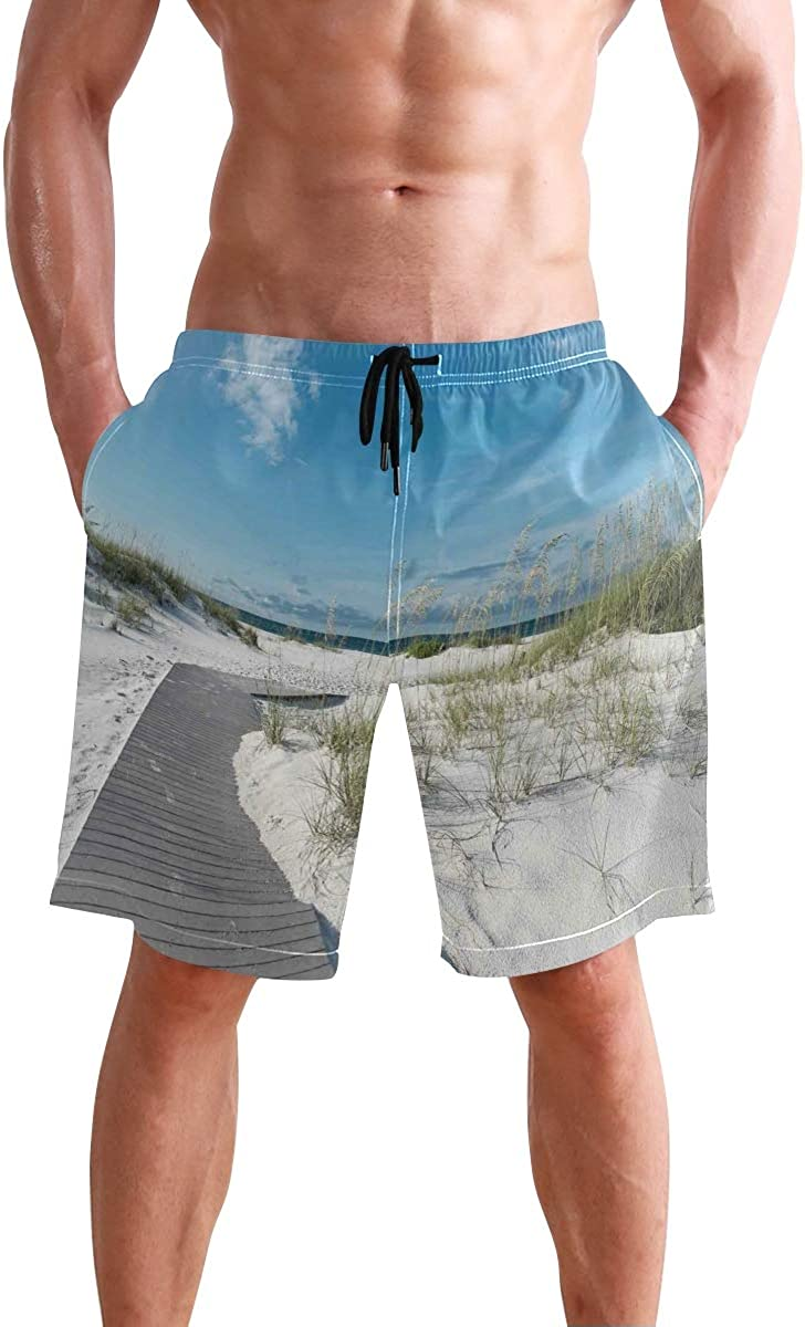COVASA Mens Summer ShortsRustic Beach Pathway Heads to The Water in Florida Sa