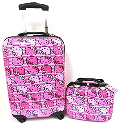 "Hello Kitty All Over Heads Print 20"" Pink ABS Luggage and Matching Cosmetic Case 2pcs Set"