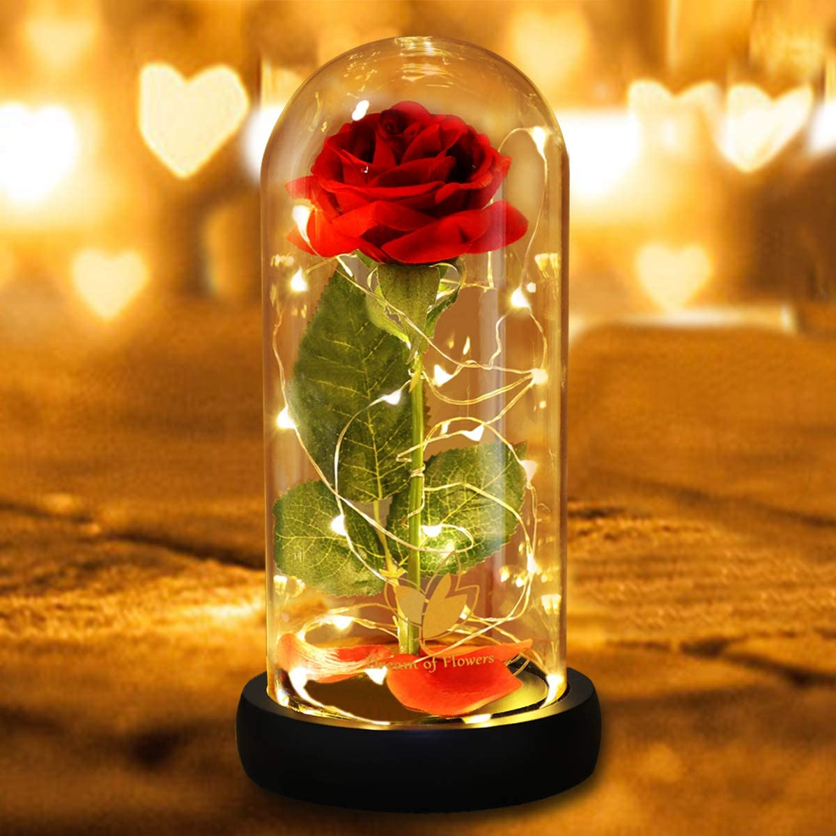 Beauty and The Beast Rose Set - Romantic surprise for Christmas &Valentine's Day & OtherFestivals, Beautifully Decorated With Red Silk Roses, LED Lights and Dome Glass and Wooden Base