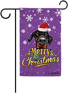 MALIHONG Merry Christmas Dog Garden Flag Doberman Pinscher in Santa Hat Purple Puppy Christmas Banner for Indoor and Outdoor Decor 12.5X18 Inch Printed Double Sided