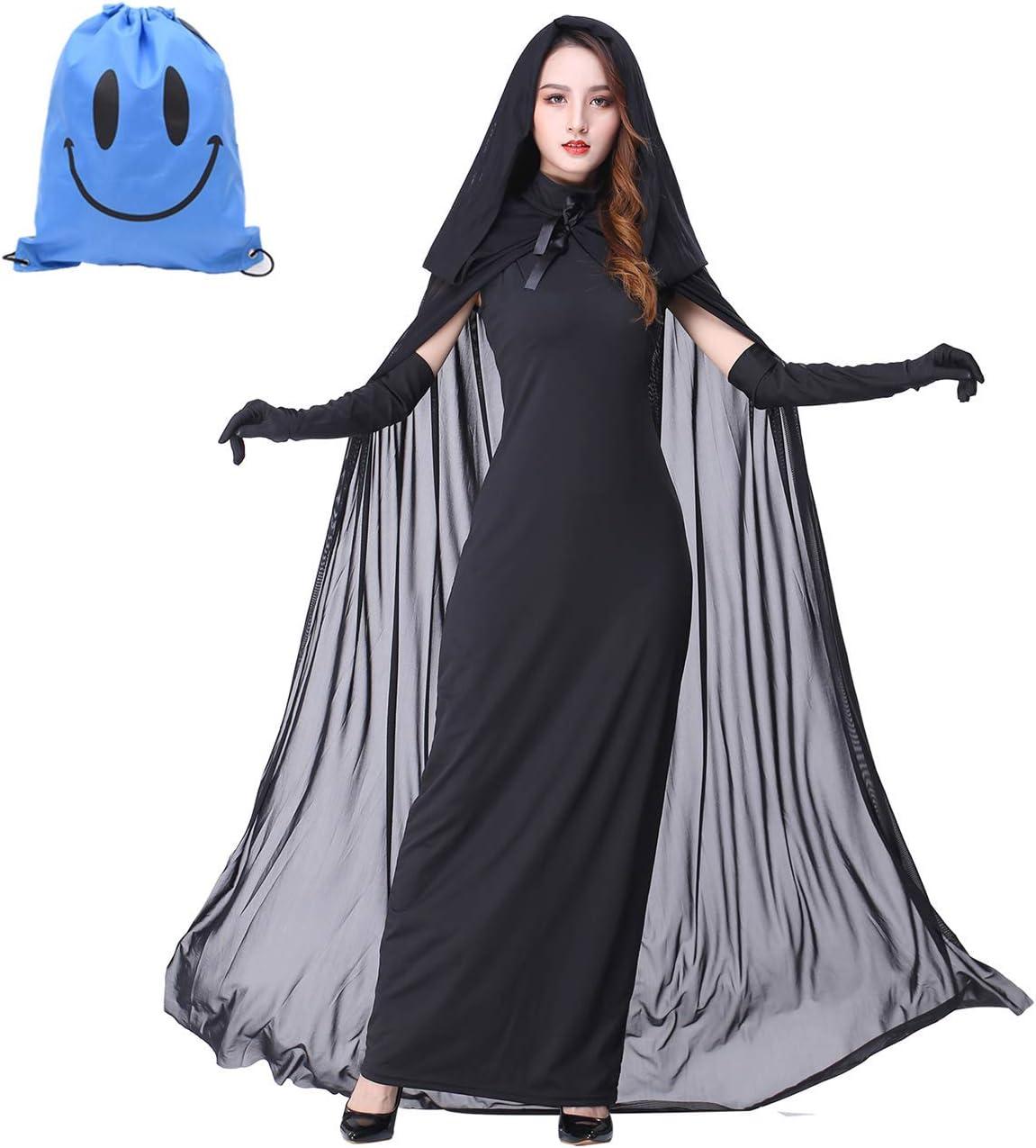 Da Donna Morticia Vampiro Costume Donna Strega Lungo Halloween Costume Vestito