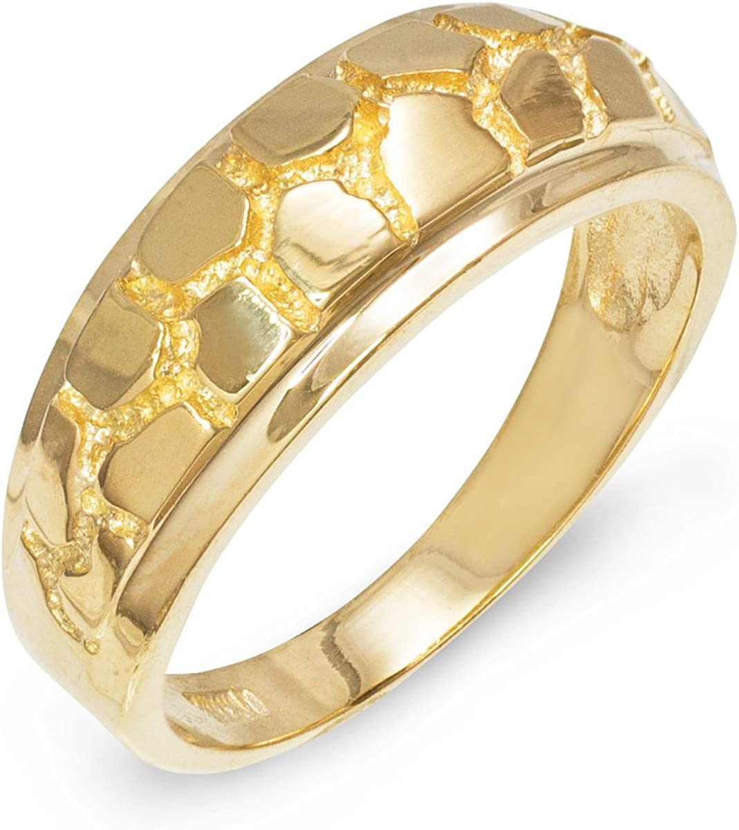 Men S Solid 10k Yellow Gold Textured Band Nugget Wedding Ring