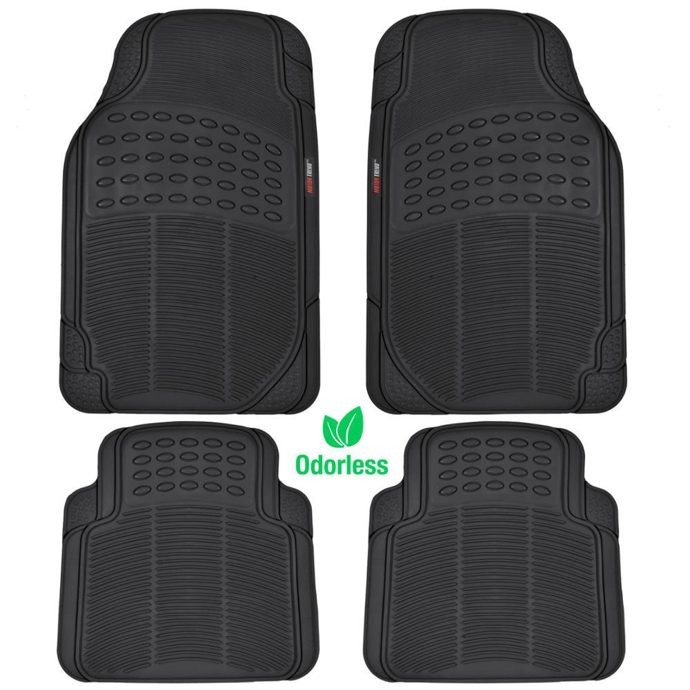 Rubber floor mats car - Amazon Com Motortrend 4 Piece Heavy Duty Rubber Floor Mats Odorless All Weather Protection Semi Custom Fit Matte Black Automotive