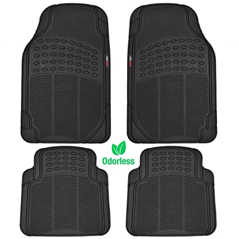 Amazon Com Motortrend Mt 754 Bk Heavy Duty Rubber Floor Mats
