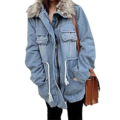 Winter Women Warm Thicken Jean Coat Faux Fur Collar Denim Parka