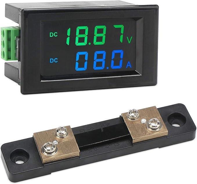 Digital Voltmeter Amperemeter Droking Dc 0 200 V 199 9 V 50 A Volt Amp Tester Messgerät Instrumententafel Lcd Display Batteriestrom Spannungsprüfer Multimeter Mit 75 Mv Shunt Baumarkt