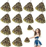 EsLuker.ly 12 Pack Cheerleading Pom Poms with Baton Handle, Metallic Foil Pom Poms Hand Flowers Cheerleader Po