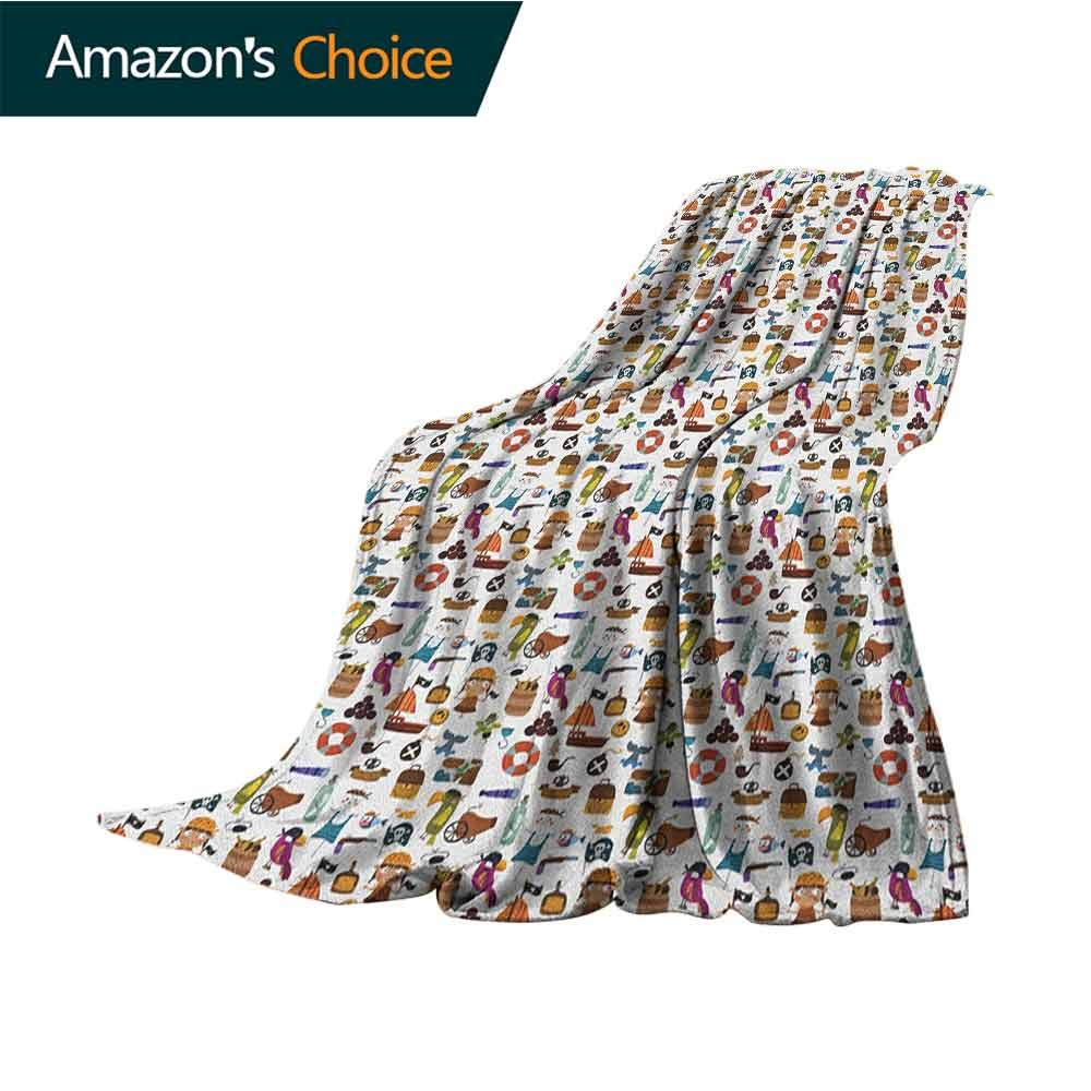 Pirates Fleece Blanket,Parrot Corsair Anchor Skeleton and Treasure Pattern in Cartoon Style Kids Adventure Cozy and Durable Fabric-Machine Washable,70'' Wx90 L Multicolor