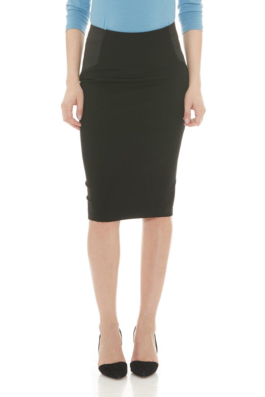 Esteez Ponte Pencil Skirt for Women Below Knee Skirt Charlotte Black X-Large