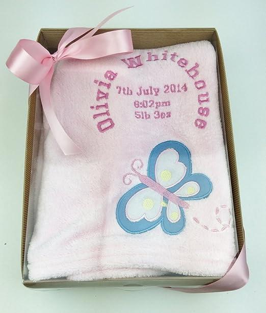 Manta personalizada con diseño de mariposas rosas en caja de regalo con lazo de satén rosa, lazo y etiqueta de regalo: Amazon.es: Bebé