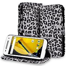 Fosmon Motorola Moto E (2nd Gen) Case (CADDY Series) Leather Multipurpose Wallet Case Pouch with Card Pocket Slots & Built-in Stand for Motorola Moto E (2nd Gen, 2015) (LEOPARD White)