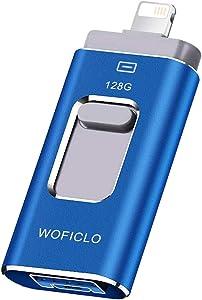 USB for iPhone 128GB WOFICLO iPad USB Memory Stick Compatible iPhone 11/iPad/iPod/Mac/Android/PC/iOS (128GB, Blue)