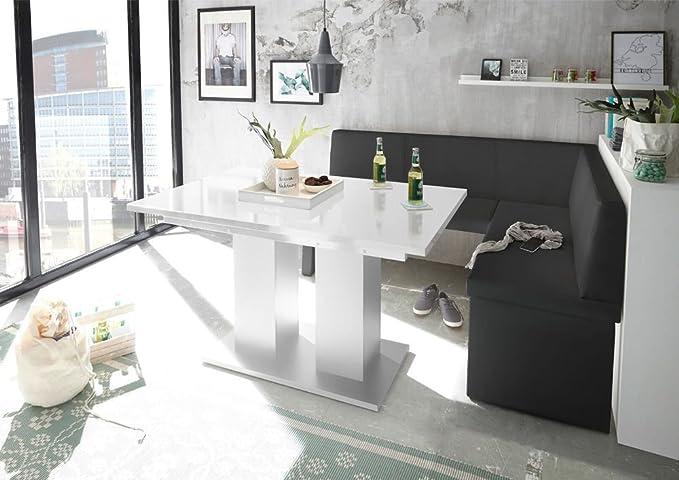 Mystylewood Eckbank Olga Schwarz mit Säulentisch Weiß Küchenbank Sitzecke dick gepolstert Kunstleder pflegeleicht stabiles Ho