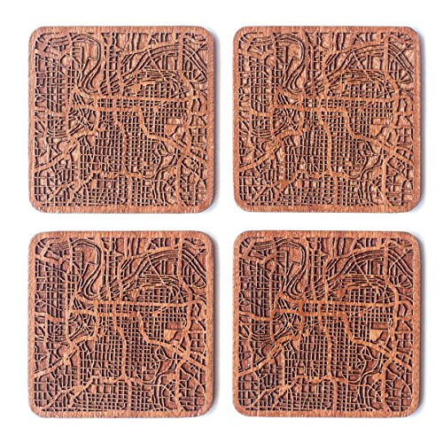Kansas City Map Coaster, Set of 4, Sapele Wooden Coaster with city map, Multiple city optional, Handmade -