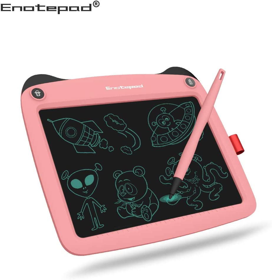 LCD Writing Tablet 9'' (9 inch), Best Gift Electronic Drawing and Writing Board for Kids & Adults, Handwriting Paper Doodle Pad for Office, School, Home [Pink-N2]