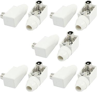 DealMux Blanca Antena de TV Conector de ángulo Recto Masculino coaxial Adaptador x10
