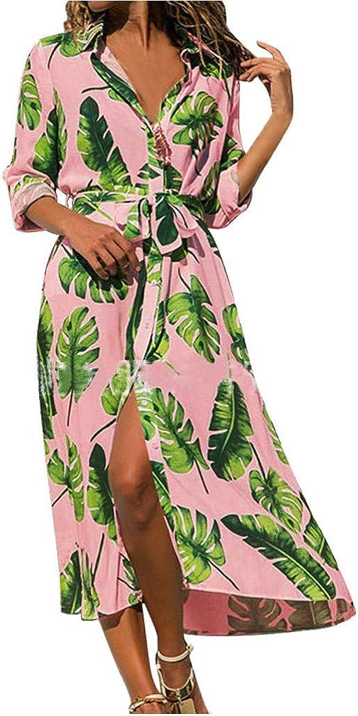 Women Turn Down Neck Long Sleeve Bow Bandage V-Neck Leaves Print Open Fork Boho Lively Color Dress