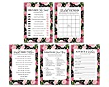 Bridal Shower Games for guests - Pack of 5 (50 Sheets Each) - Includes Advice and Wishes Cards - Bingo - He Said She Said - Would she rather - What's on your phone