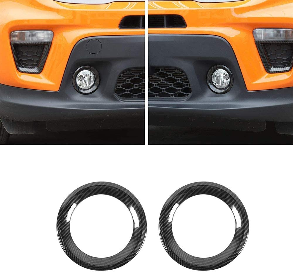 L/&U Carbon-Faser-Auto-Frontnebellichtabdeckung Nebelscheinwerfer Bezels Trim f/ür Jeep Renegade 2019 2020