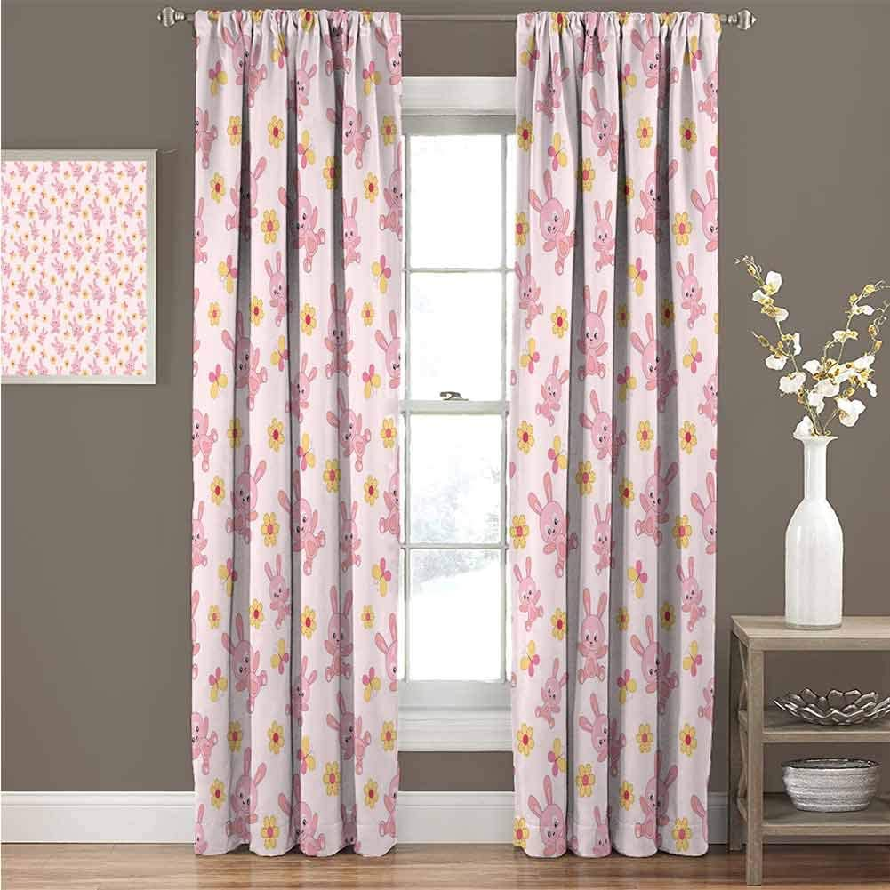 """GUUVOR Baby 99% Blackout Curtains Playthings Stuffed Bunny Cute Butterflies and Flower Arrangement Cartoon for Bedroom Kindergarten Living Room Curtain 52"""" Wide x 84"""" Long Rose Pale Pink Yellow"""