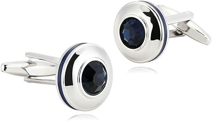 Daesar Joyería Gemelos de Hombre Gemelos Acero Inoxidable Gemelos Camisa Gemelos Circular Gemelos para Hombre Gemelos Plata Azul: Amazon.es: Joyería