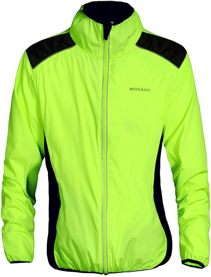 WOSAWE Veste de Cyclisme Imperm/éable Ultral/éger V/élo Longues V/êtement Respirant Vert Haute Visibilit/é VTT Manteau