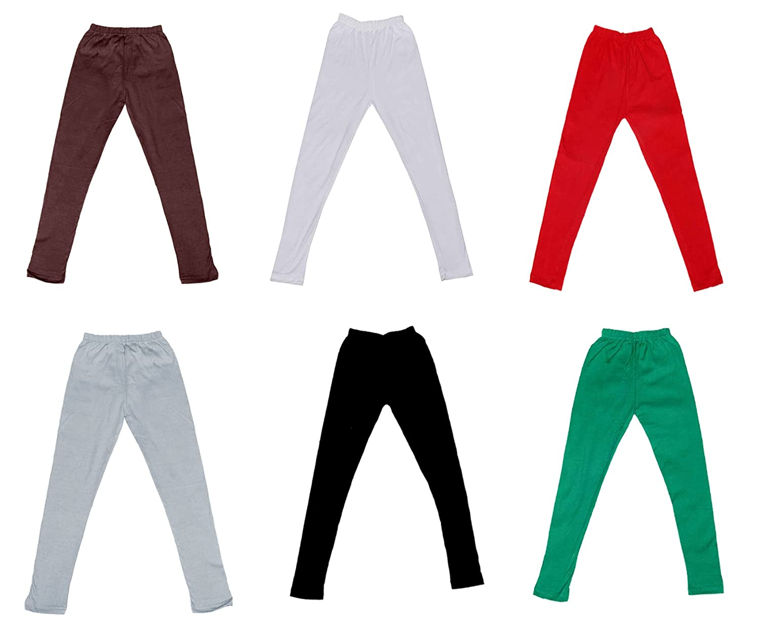Indistar Cotton Super Soft Solid Multicolor Leggings for Girls Pack of 6