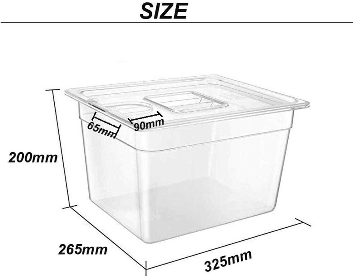 YUIO Sous Vide Container Steak Machine Container with Lid Water Tank Bath for Circulator Sous Vide Culinary Immersion Slow Cooker Transparent