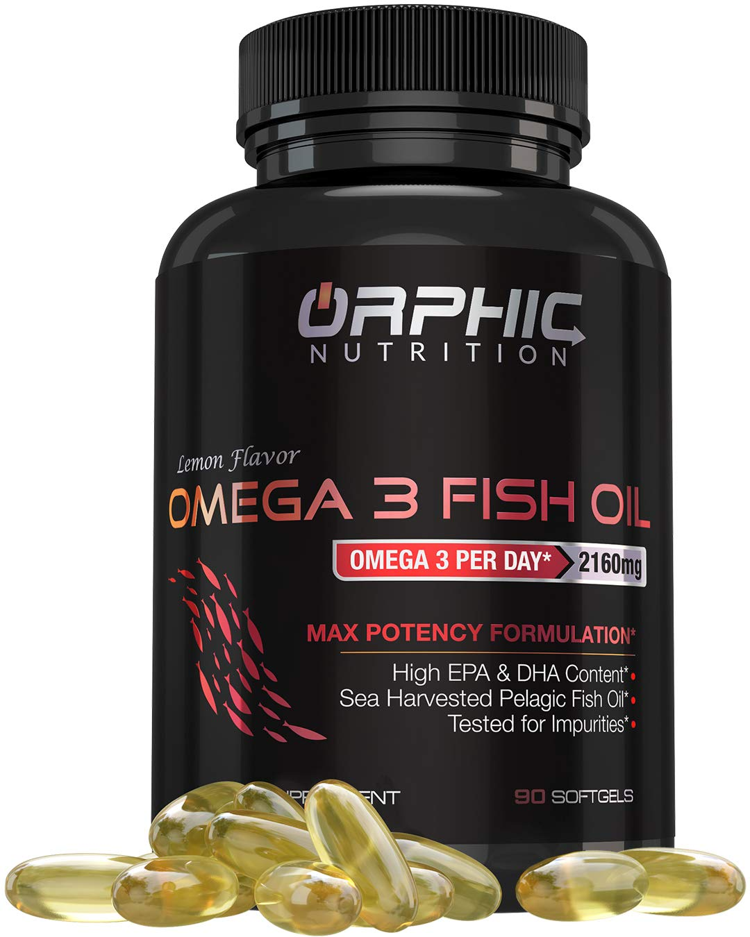 Omega 3 Fish Oil Max Potency Burpless Capsules - 3,600mg Fish Oil + 2,160mg Omega 3 + 1,296mg EPA + 864mg DHA - Best Essential Fatty Acids Supplement for Heart, Eye, Joint & Brain Health, Cholesterol by Orphic Nutrition