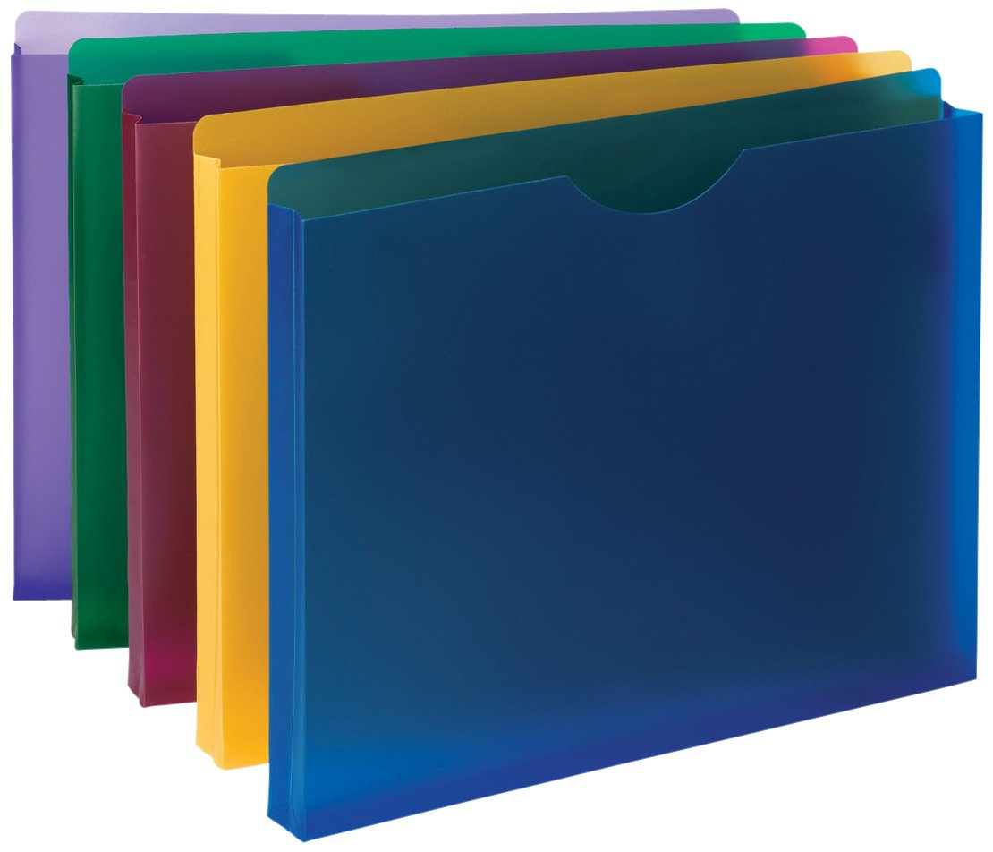 """Smead Poly File Jacket, Straight-Cut Tab, 1"""" Expansion, Letter Size, Assorted Colors, 10 per Pack (89610)"""