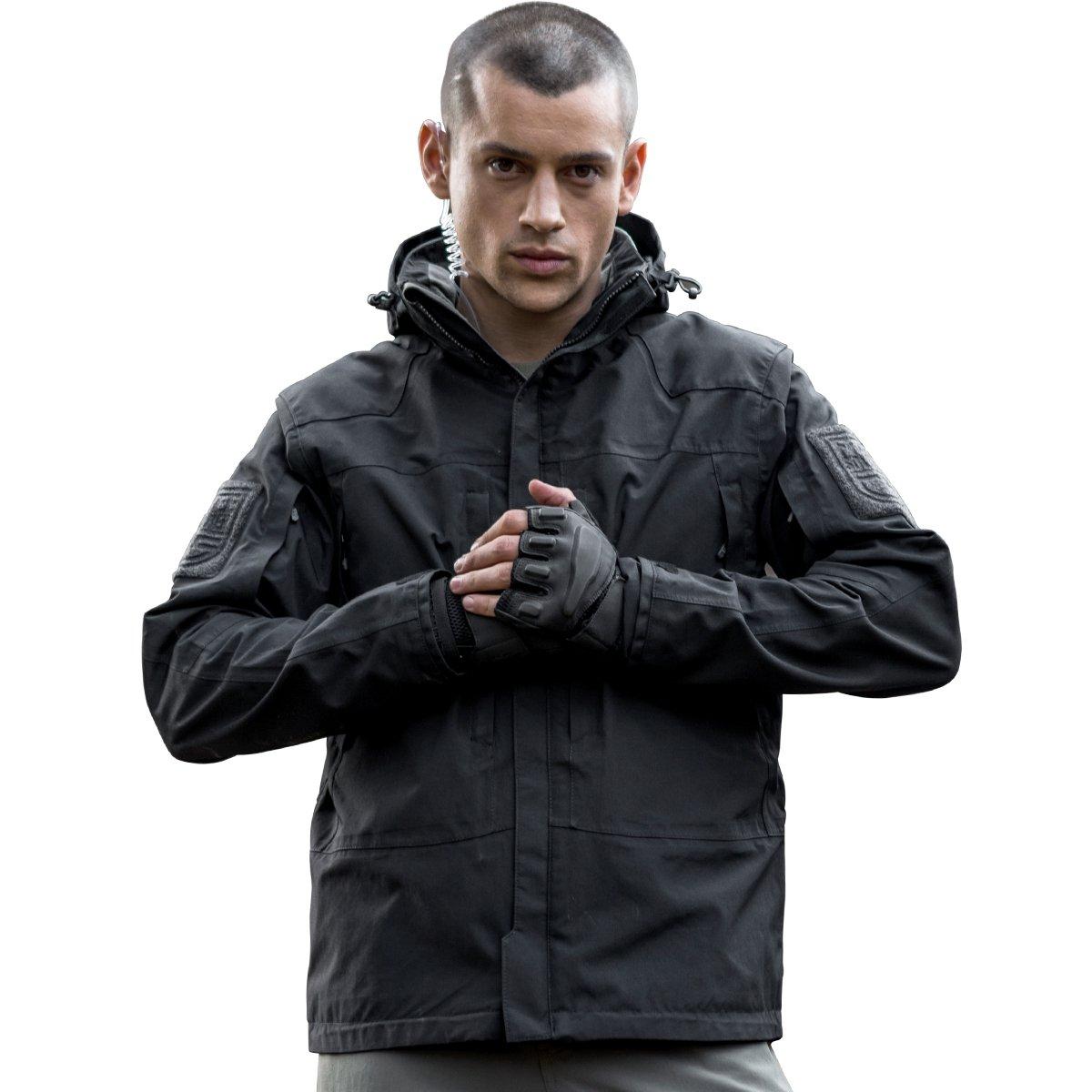 Free Soldierアウトドアメンズジャケット防水性通気性暖かいタクティカルジャケットフリースコート B01M4LK115 XXX-Large|ブラック ブラック XXX-Large