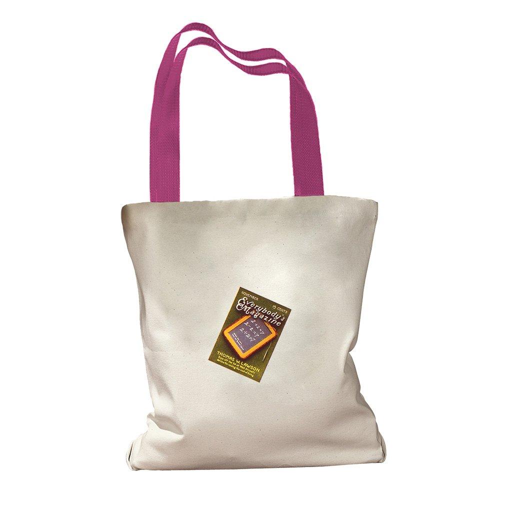 Amazon Magazine Vintage Look Canvas Colored Handles Tote Bag