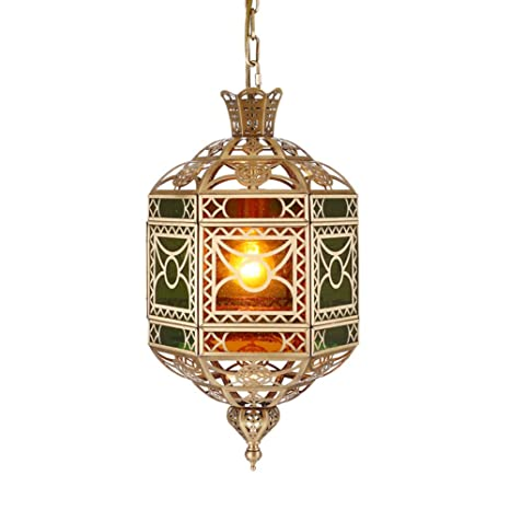 National style Bronze Pendant chandelier, Led Creative Hanging lighting fixtures, Muslim Restaurant Ceiling light fixture Cafe Hollow Carved For e14-A ...