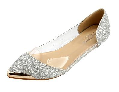 Damen Metall Spitz Schließen Zehe Pailletten Flache Pumps,EuD15 Schwarz 35 AgeeMi Shoes