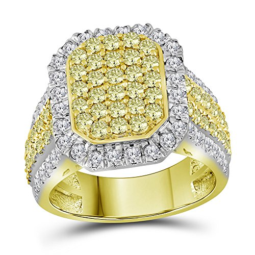 14KT Yellow Gold Round Canary Yellow Diamond Rectangle Cluster Ring 2.31 Cttw Size 7