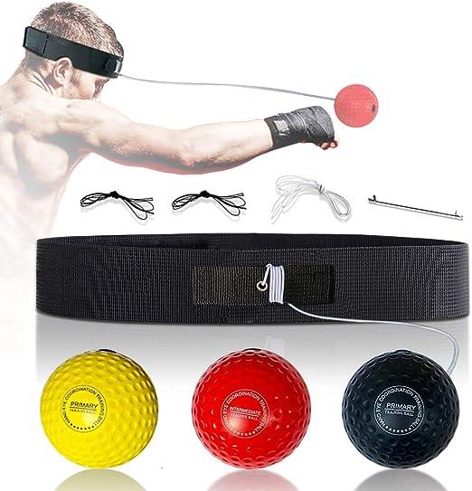 /Équipement de Reflex Ball pour la Vitesse de R/éaction Balle Reflexe Boxe pour les Enfants et Adultes Boxing Reflex Ball Coordination main-/œil 3 Balles de R/éaction de Boxe avec Bandeau R/églable