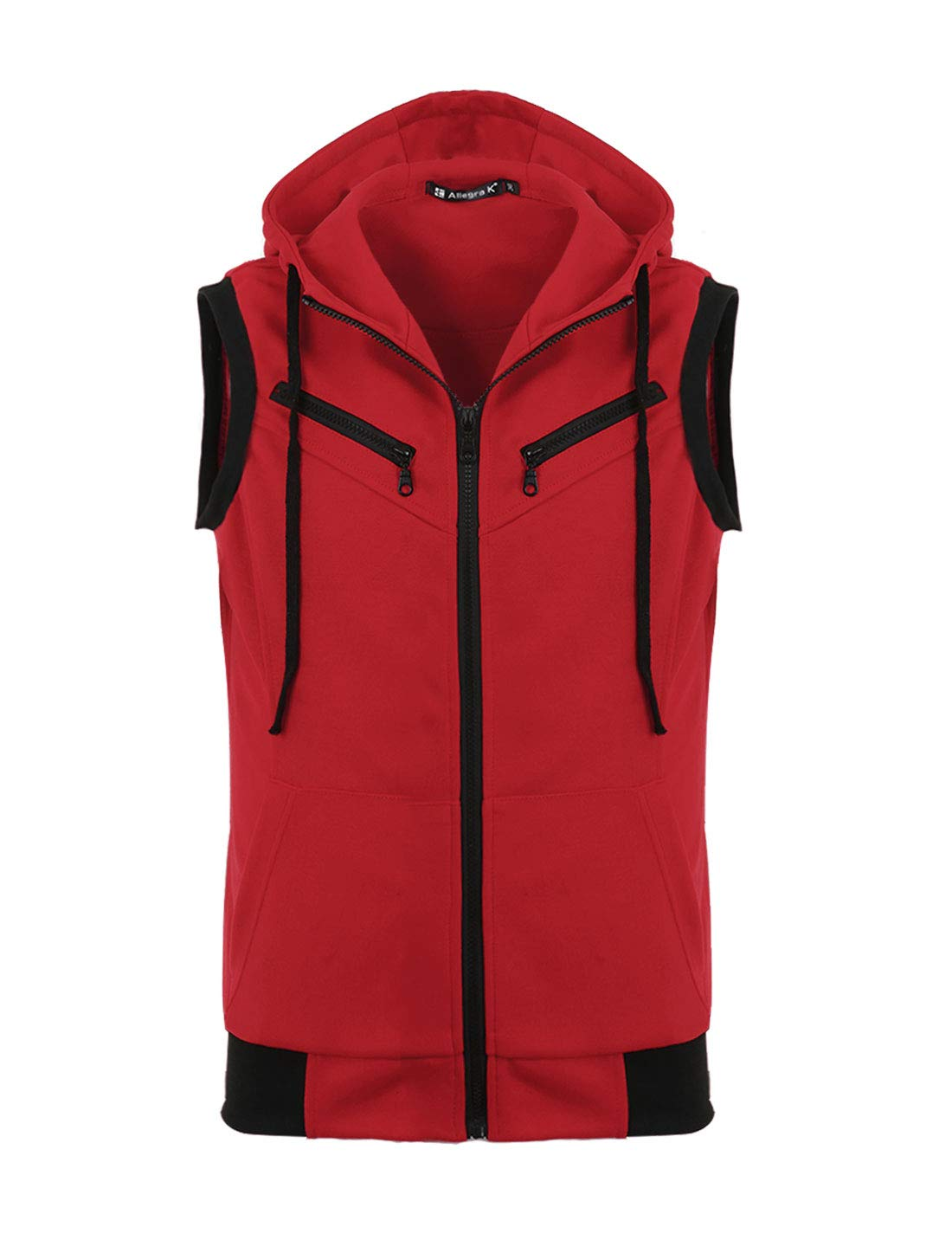 uxcell Men Kangaroo Pocket Zip Up Drawstring Hooded Sleeveless Vest Red XXL 50 by uxcell