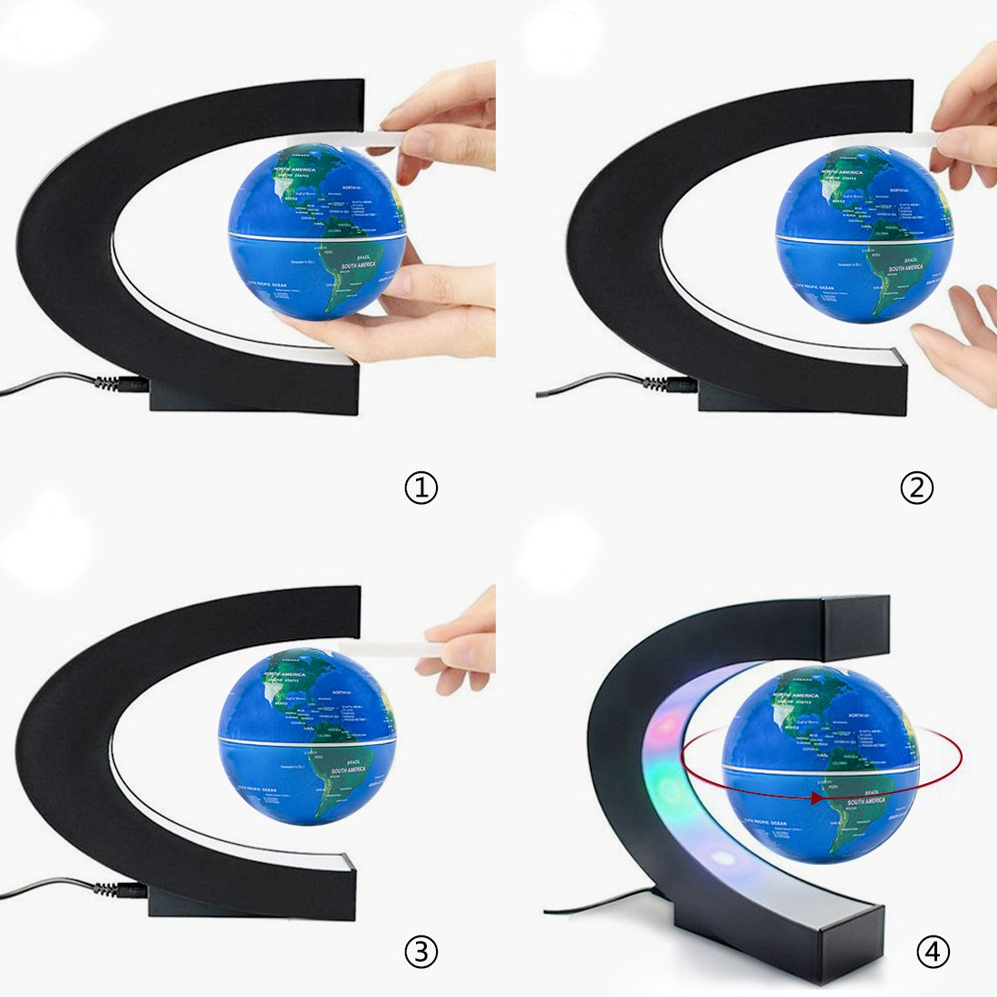 Magnetic Floating Globe 3inch Rotating Mysteriously Suspended In Air World Map with LED Lights for Children Gift Home Office Desk Decoration (Blue) by BOJIN (Image #4)