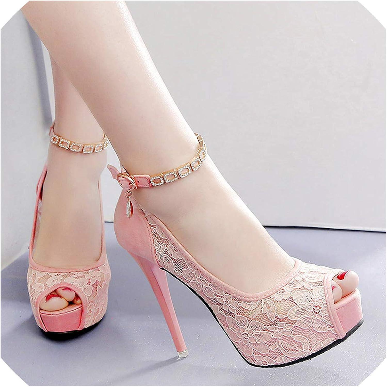 Lace Wedding Shoes Woman Peep Toe High