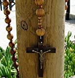 Catholic holy big mix Beads sanctified Rosario Natural wood Chain Jesus cross XL large 42'' inches wall rosary