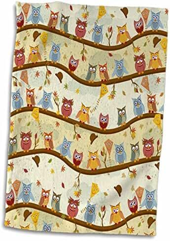 3dRose Ancello Cute Owls - Autumn Owls - 15x22 Hand Towel (twl_201641_1)